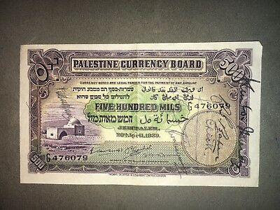 PALESTINE CURRENCY BOARD, 500 MILS 1939, Israel/British Mandate
