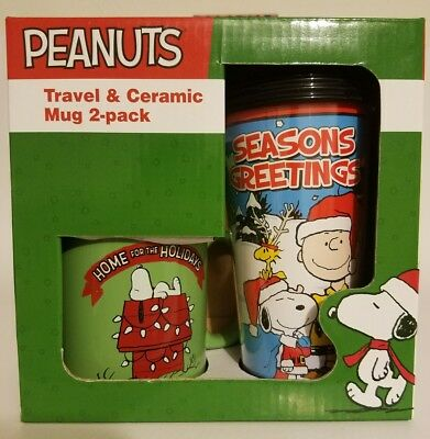 NEW Peanuts Christmas Travel Mug Ceramic Coffee Tea Cup Charlie Brown Snoopy