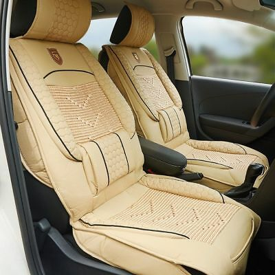 1x Black PU Leather Car Seat Cover Cushion Back Support Waist Massage Universal