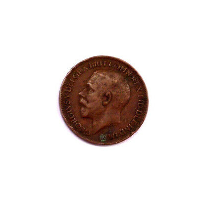 Farthing Coin 1921 GREAT BRITAIN George V Copper Free Shipping United Kingdom UK