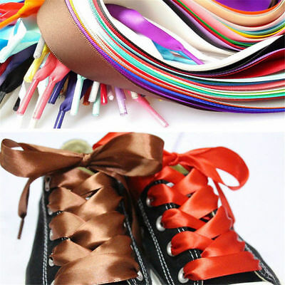 1 Pairs Shoelaces Flat Silk Satin Ribbon Sport Shoes Laces Sneakers Shoestrings