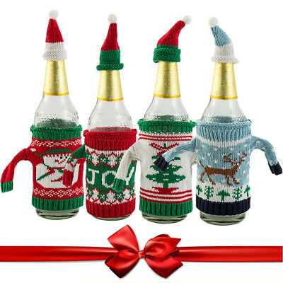 4X Wine Bottle Cover Bag Knitted Sweater Hat Gift Bag Christmas Xmas Tree Decor