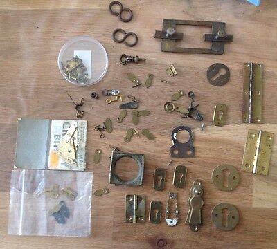 Antique Clock Catches Key Escutcheons Hinges Etc Ex Clockmakers Spares Chest