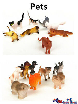 Plastic Pets Cats Dogs Play Set Toys Animal Action Figurines Decor Kids Gifts