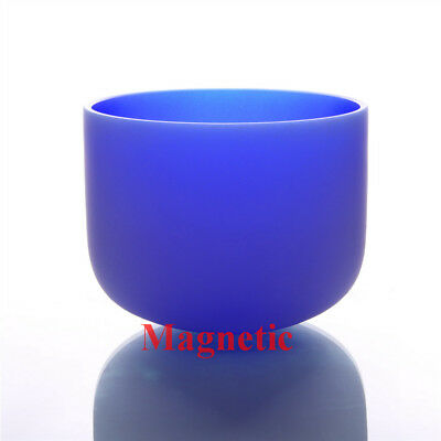 """Sapphire Fused G# Zeal Chakra Frosted Quartz Crystal Singing Bowl 8 """""""