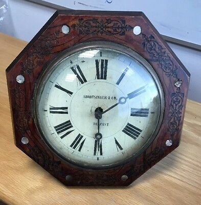 VINTAGE ANTIQUE WAG ON THE WALL CLOCK BELFAST SHORTSINGER & CO. 1800's 1900's