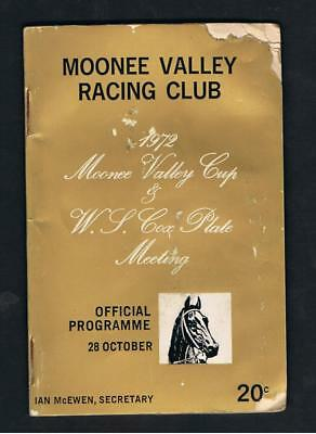 1972 Moonee Valley Racing Club W.s.cox /moonee Valley Cup Racebook. Gunsynd.