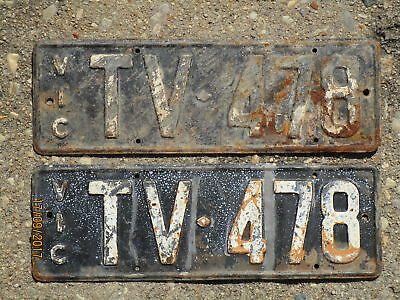 Pair of Early Victorian Number Plates TV 478 1950 Issue.