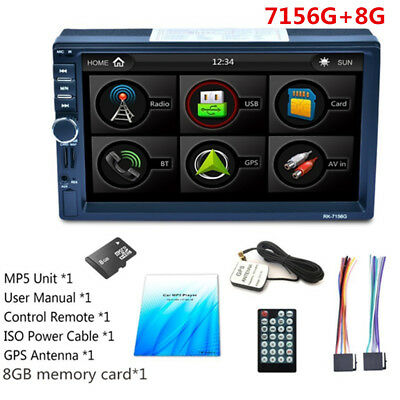 """7"""" 2DIN Car DVD Player Touch Screen Bluetooth MP3 MP5 Rearview Backup Handfree"""