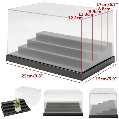 25cm/9.8'' Clear Acrylic Display Case Tray 4 Steps Box Dustproof Protection