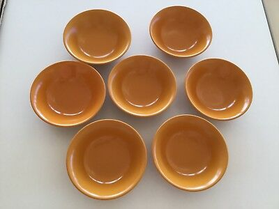 7 X BOWLS - BRIGHT ORANGE RETRO - SWEETS, CEREAL BOWLS - 1960's