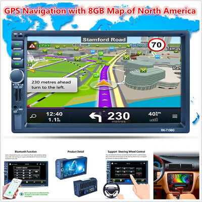 """7"""" 2DIN Touch Screen Car MP5 Player GPS Nav Bluetooth RDS Radio Stereo + 8GB Map"""