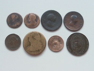 8 Worn British / Foreign Coins 1675 - 1842 V High Catalogue Value
