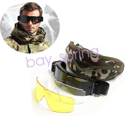 USMC Airsoft X800 Tactical Sunglasses Glasses Goggles GX1000 Black 3 Lens