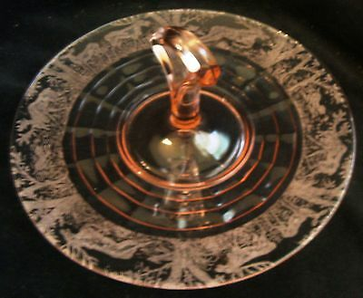 Vintage Paden City Black Forest Pink Glass Center Handle Sandwich Plate Server