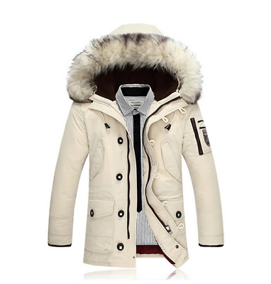 Hot Fashion Men's Down Cotton Coats Winter New Hoodie Jacket White Outwear