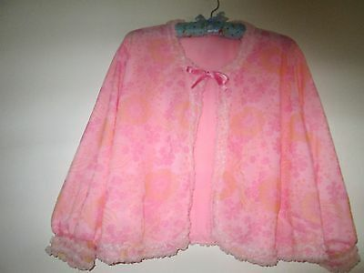 VINTAGE LADIES VEDONIS NYLON BED JACKET-FRILLY-PINK-FLORAL-1960/70s-W