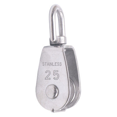 M25 Stainless Steel Single Sheave Swivel Eye Rope Pulley Lifting Loading 150kg