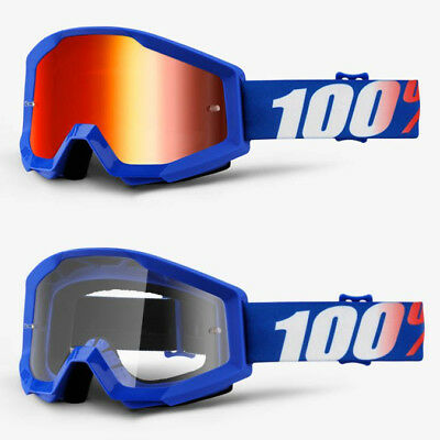 2018 100% Percent Strata Mx Motocross Goggles Nation Red Mirror / Clear Lens