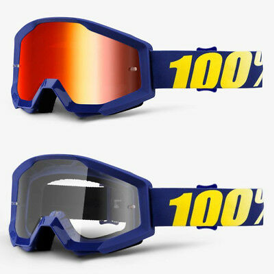 2019 100% Percent Strata Mx Motocross Goggles Hope Red Mirror / Clear Lens