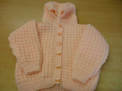 Child's Hand Knitted Peach Cardigan with Hood 0-6 Months New