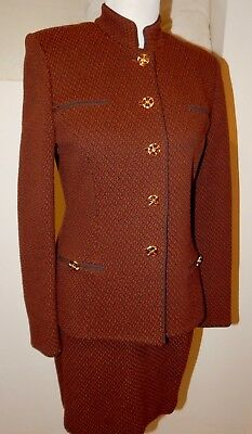 Vintage St John Marie Gray Collection Stretch Wool Power Suit Gold Buttons 80's