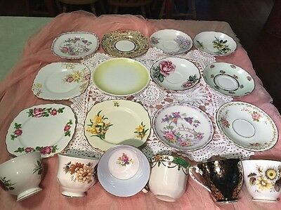 Mixed Fine Bone China Coloured Trios High Tea/baby Shower -- Choose Your Item