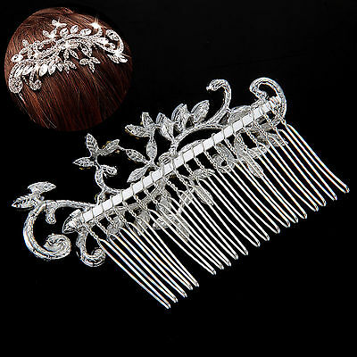 Bridal Wedding Party Flower Crystal Rhinestones Diamante Hair Comb Clip UK