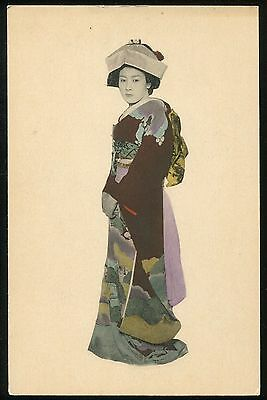 JAPANESE VINTAGE PHOTO POSTCARD 1910-1920s  hand colored tinted