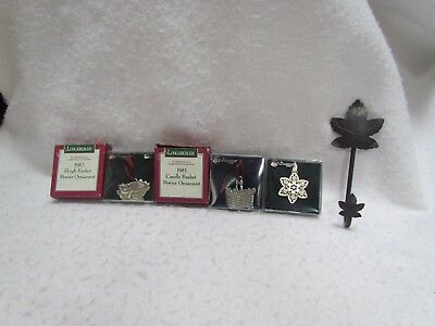 Longaberger Lot of 3 Pewter Christmas Ornaments and One Iron Metal Leaf Hook