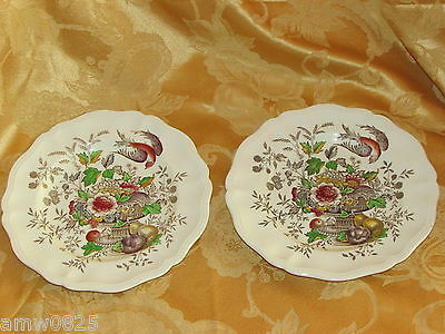 "Vintage Royal Doulton Hampshire 8 5/8"" Salad Plates Bird Urn Fruit Flowers D6141"