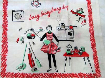 Whimsical Busy Day Vintage Housewife Kitchen Towel