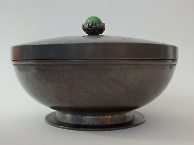 RARE CHARLES BOYTON ART DECO BOWL & COVER PEWTER SIGNED NOT SILVER 1930s-1940s