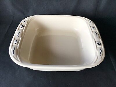 LONGABERGER POTTERY WOVEN TRADITIONS BLUE 2 QUART 8 x 8 x 2 BAKING DISH IN EUC