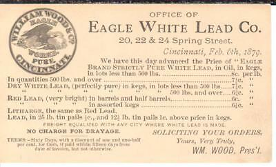 """1879, """"Eagle White Lead Co.""""; Price Notice on US Postal Card; VF+"""