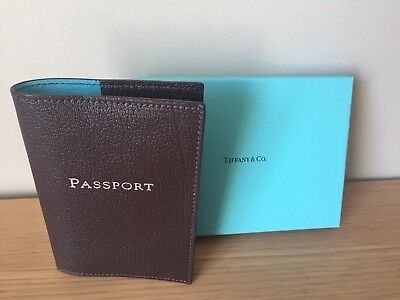 Auth Tiffany & Co. Leather Passport Case Holder Brown UNUSED