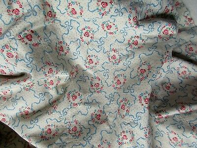 Timeworn  Htf Antique Tiny Flower Wreath Ribbon Bow Swag Dotted Cotton Fabric Pc