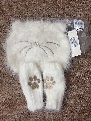 River Island White Cat Hat And Gloves 3-6 Years New