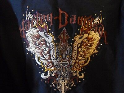 Women's Long Sleeve Embroidered Harley Davidson Shirt Size XL