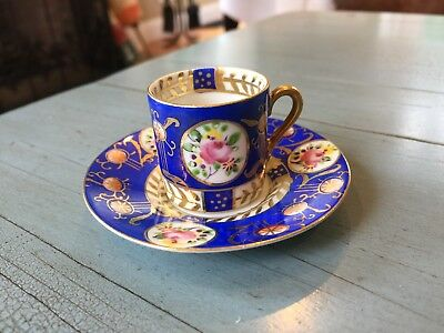 Mini Tea Cup and Saucer Blue With Flowers Hand Painted