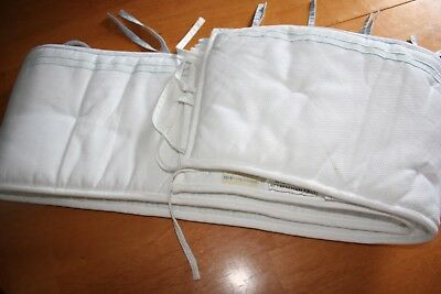 Pottery Barn bumper pad White / blue trim    NWT
