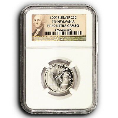 1999-S Pennsylvania NGC PF69 Ultra Cameo Proof Silver Quarter Coin