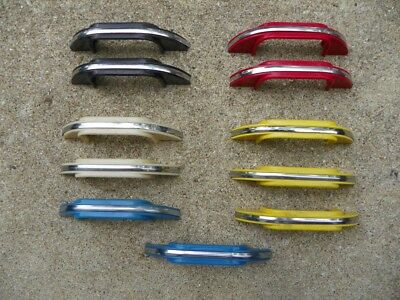 11 Vintage COLORED PLASTIC Drawer Pulls w CHROME STRIPE Hoosier Handles