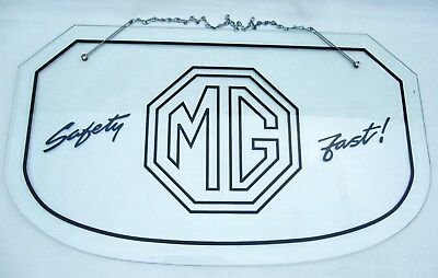 MG VINTAGE GLASS 1930s STYLE MG SAFETY FAST LOGO SHOWROOM  SIGN