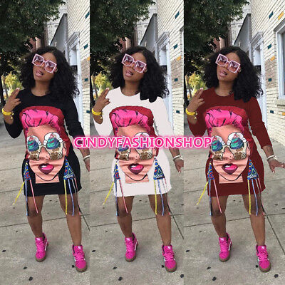 USA Women Casual Long Sleeve Cartoon Head Character Print Loose Mini Dress
