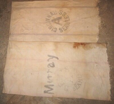 2 Antique Heavy Cloth Seamless Feed Sack Bag Bemus & Cincinnati Bottoms Torn off