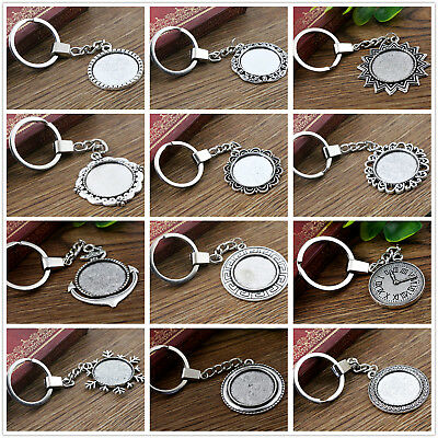Antique Silver Plated Keyring with 25mm Cabochon Setting | 2pcs | 12 Styles