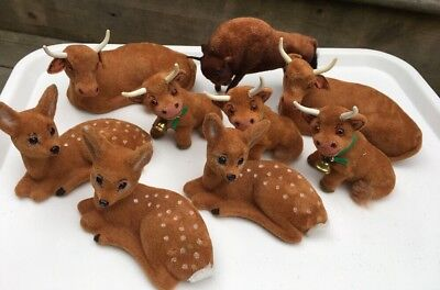 Lot Of 9 Animals Wagner Germany Spotted Deer Cow Bull Calf