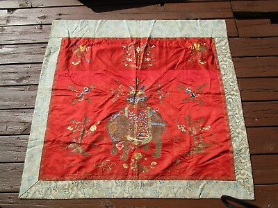 Old Oriental Chinese Japanese Red Wall Hanging Tapestry Elephant Hand Work Em