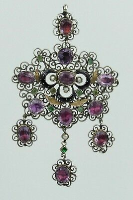 Antique Victorian Foil-back Amethyst and Emerald Enamel Pendant with Filigree